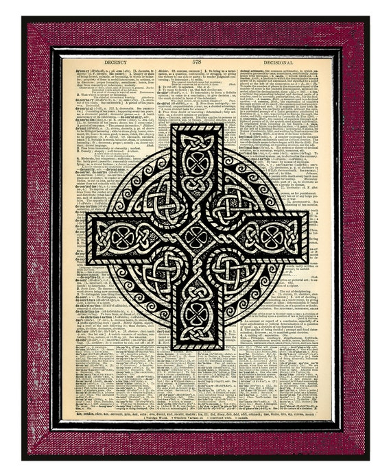 Items similar to celtic cross wall hanging old book page for Celtic decorations home