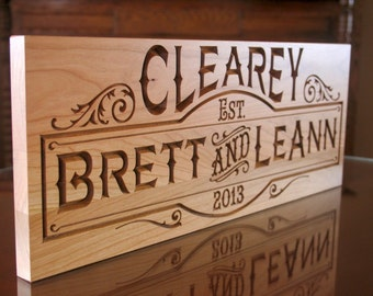 Family Established Sign, 5 Year Anniversary Gift, Wedding Date Sign, Wedding Anniversary Gift, Benchmark Signs Cherry SB