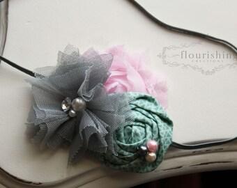 Grey, Pink and Mint headband, grey headbands, newborn headbands, flower headbands, vintage headbands, photography prop