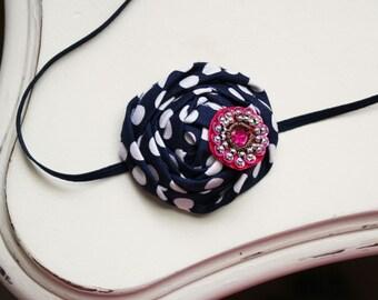 Navy Dotted Rosette headband, pink headbands, rosette headbands,newborn headbands, blue headbands,photography prop