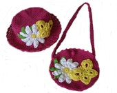 Set of crocheted hat and bag for a girl with a big white daisy and yellow butterfly in fuchsia