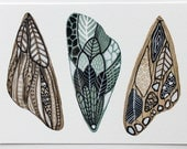 Butterfly Moth Wings Watercolor Art Painting - Archival Print - White Moth Wings
