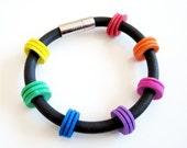 Colorful RUBBER art bracelet, light weight, wearable art, multicolor,  model Lynn