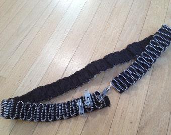 Belt - Black and Silver Zipper Zig Zag Belt