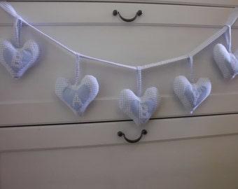 Blue Gingham Fabric Heart Garland Baby Boy