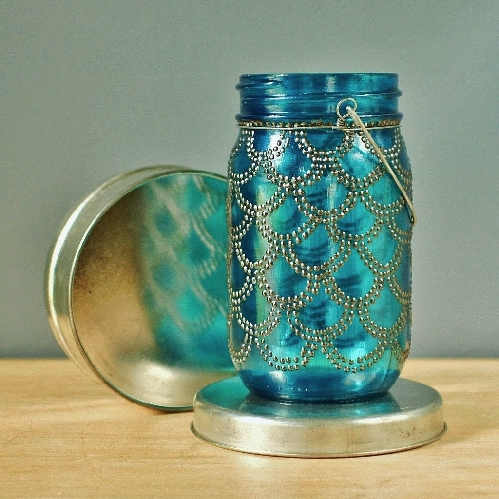 Bohemian Vases Trio Of Mason Jar Lanterns Teal Blue By