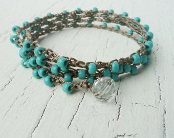 Turquoise Crochet Wrap Bracelet Necklace, Boho Bohemian Chic, Beach Jewelry, Surfer Girl Bracelet, Cowgirl Jewelry, Country Western Jewelry
