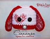 Newborn Puppy Hat-Cinnamon the Puppy-Valentine Hat-Baby Girl-Baby Boy-Photo Prop