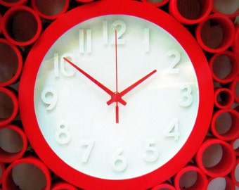 Cherry Red Retro Wall Clock made with Recycled PVC, Super Unique and fun