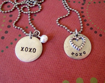 LOVE necklace CHOOSE ONE style of handstamped silver tag with xoxo kisses and hugs personalized for your love