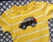 SALE: Volvo felt Broom Broom appliqué on onesie