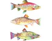 Watercolor Fish Print.  Fish Home Decor.  Colorful Art.