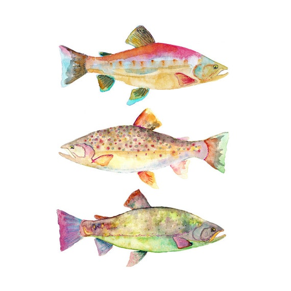 Watercolor fish print fish home decor by snoogsandwilde for Best home decor on etsy