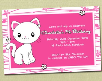 Personalised Kitty Kitten Birthday Invitations - You Print