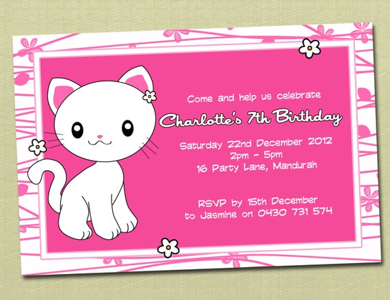 Personalised Kitty Kitten Birthday Invitations You Print By Deezee