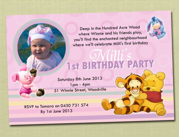 photo personalised winnie the pooh birthday invitations - you, Birthday invitations