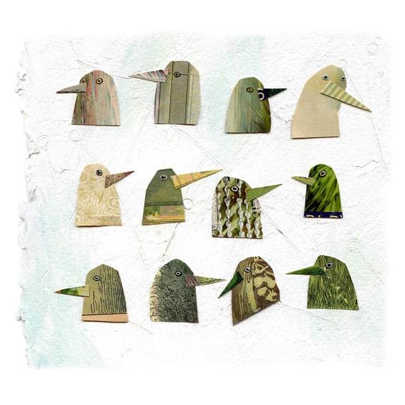 birds I have known 1, birds, bird heads, green birds, mixed media birds, mixed media collage, mixed media print