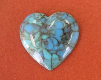 Vintage 19mm Plastic Heart in Turquiose Matrix.  8 pcs.