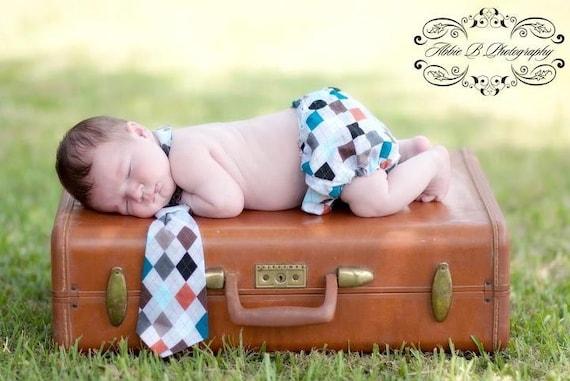 Argyle Diaper Cover and Necktie Two Piece Set, Cake Smash, Birthday Outfit, Toddler Necktie, Photo Prop