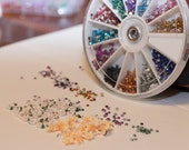 10 Flower Clay Fimos & 2mm Round Rhinestone Wheel and FREE Nail Glue