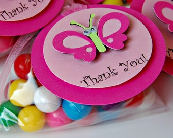 Butterfly Themed Birthday Party Favor Tags, Pink Butterfly Thank You Tags (12)