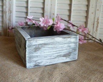 Wooden Box, Storage Box, Cottage Chic Decor, Wedding Decor, Wooden Planter Box, White Blue, Living Room Decor, Shelf Decor