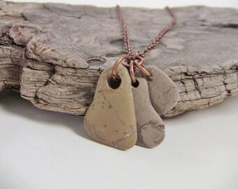 Necklace - Beach STONE Necklace - Stone Necklace - Stone Jewelry - Beach Stone Jewelry - Natural Stone Necklace - Earthy Jewelry