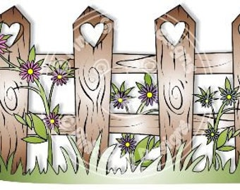 Digital (Digi) Heart Fence -  Character Background Stamp