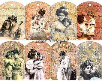 Mother's Day Elegant Edwardian Digital Collage TAGS  Printable Mother and Child