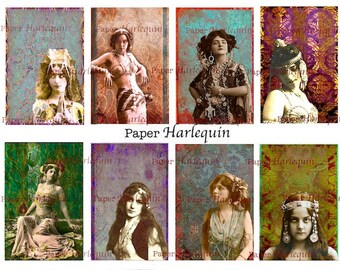 Bohemian Gypsy Vintage Style Luscious Printable DIY Set of 8 Unique Tags