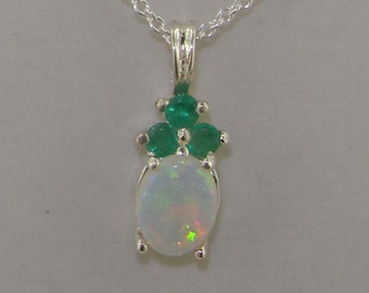 Luxury Small Pendant, Solid 925 Sterling Silver Natural Colorful Opal & Emerald Accent Contemporary Pendant Necklace - Made in England
