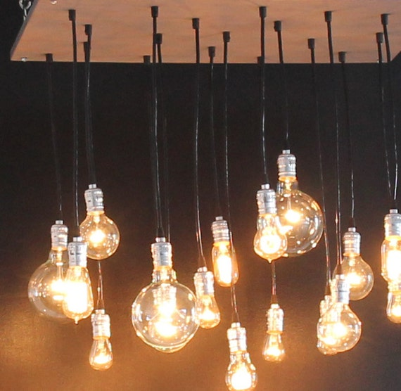 Industrial Chandelier with vintage bulbs & Your Choice Stained Base