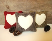 Valentine Pillow, Balsam Heart Pillow, Rustic Heart Pillow, Valentines Day Decor, Gray, Brown, Red Pillow, 4 Inch Square Pillow
