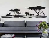 African Decor - African Safari  - Wall Decal Vinyl Decor Art Sticker Removable Mural Modern Nature Sahari Africa a345