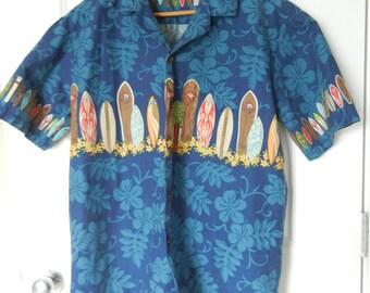 Vintage Hawaiian Shirt Made in Hawaii USA Aloha Republic Surfboard Motiff