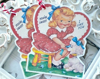 Vintage Valentine Tags - Set of 6 - Retro Valentine Card-Classroom Valentine-Valentine Treat Tags-Valentine Favor Tags-Valentine Gift Tags