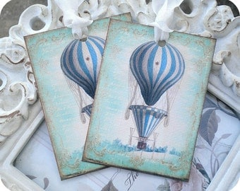 Blue Hot Air Balloon Tags (6) Up Up Away Birthday-Up Up Away Baby Shower-Shabby Gift Tags-Shabby Balloon Tags-Birthday Gift Tags-Favor Tag