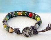 Route 66... Men's leather wrap bracelet... Original OceanBead Style.