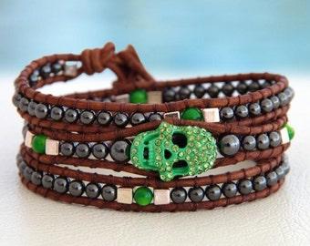 Skull Green... Leather wrap bracelet... a brown coloured triple wrap bracelet. Original OceanBead Style