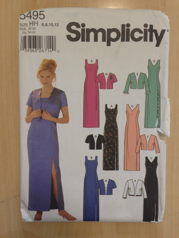 Simplicity Sewing Pattern 5495 Misses/Misses Petite Dress with Jacket Size 6-12 Sale