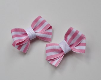 Pink and white striped hair clip set