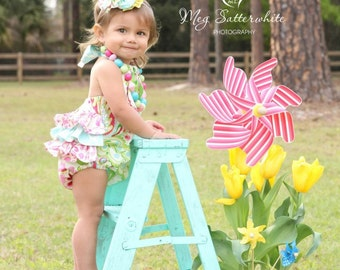 Baby Girl Ruffled Sun Suit Romper