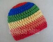 Crochet Baby Hat, Colorful Rainbow Baby Hat, Newborn- Toddler Sizes