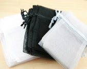 24 Organza Bags - assorted colors shown or pick your quantities from the colors shown, 3X4 size, satin drawstring
