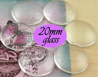 20mm Clear Glass Domes, 20mm Glass Cabochon Craft Domes, Clear Glass  -Pick your quantity. Round Craft Glass