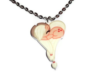 Kawaii Pony Necklace, Applejack Heart Shape My Little Pony