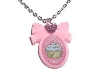 Pink Cupcake Necklace, Pastel Cameo Kawaii Jewelry