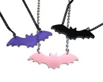 Bat Necklace, Choose Pink, Purple or Black, Cute Pastel Goth Jewelry