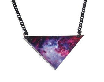 Nebula Necklace, Space Triangle Necklace, Galaxy Pendant, Purple Space Jewelry