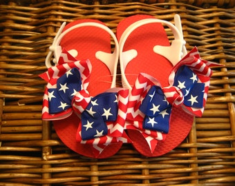 Fourth of July Patriotic Stars and Chevron Stripes Toddler Flip Flops - 9/10 Last ONE!